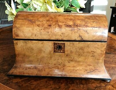Antique Vintage Dome Tunbridge Ware Walnut Tea Caddy Box with 3 Compartments