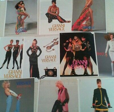 VINTAGE VERSACE print ads Lot of 11, from Vouge magazines Fashion Models 1990s