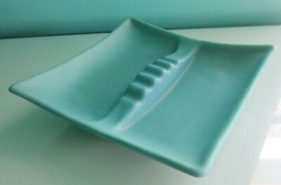 Vintage Van Briggle Ming Turquoise Square 'coffee Table Ash Tray' (Really Nice)