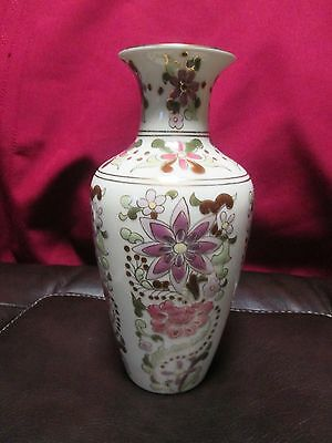 """Zsolnay Vintage Hand Painted Porcelain Floral Vase 7 """" Laced with 24K Gold"""