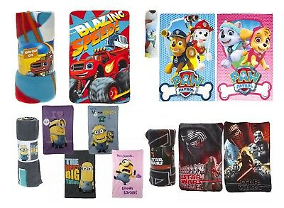Kids Fleece Throw Star Wars Paw Patrol Minions Blanket Girls Boys Xmas Gift 3+y