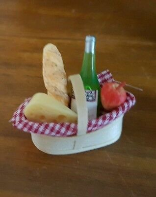 Miniature dolls house accessories Picnic Basket assorted food and wine 1:12th
