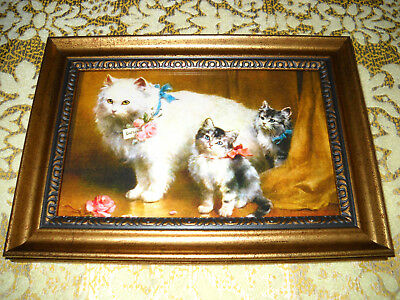 MOTHER CAT 2 KITTENS 4 X 6 gold framed animal print Victorian style art picture