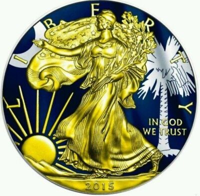 2015 1 Oz Silver AMERICAN EAGLE STATE FLAG SOUTH CAROLINA Coin WITH 24K Gold