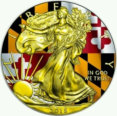 2015 1 Oz Silver AMERICAN EAGLE STATE FLAG MARYLAND Coin WITH 24K Gold