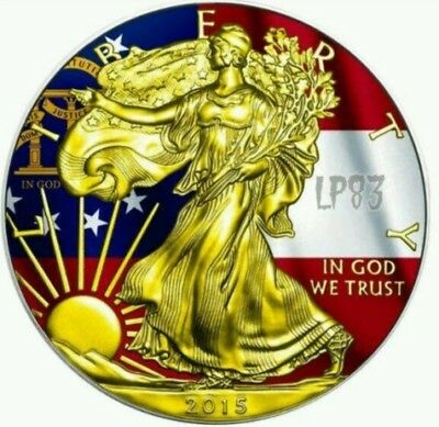 2015 1 Oz Silver AMERICAN EAGLE STATE FLAG GEORGIA Coin WITH 24K Gold Gilded