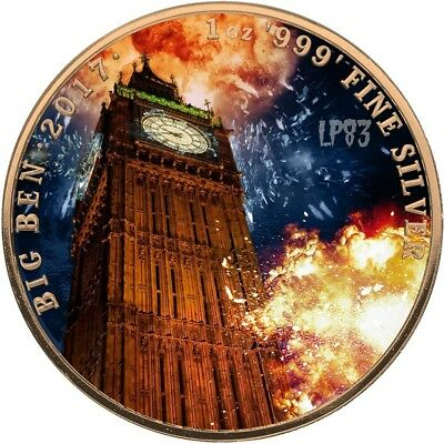 2017 1 Oz Silver BIG BEN Coin WITH 24K GOLD GILDED