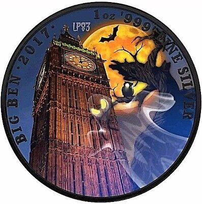 2017 1 Oz Silver BIG BEN HALLOWEEN Coin WITH 24K BLACK RUTHENIUM