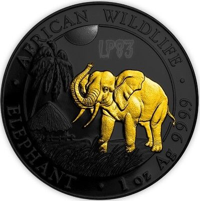 2017 1 Oz Silver SOMALIAN ELEPHANT Coin WITH 24k Gold Gilded IN CAPSULE