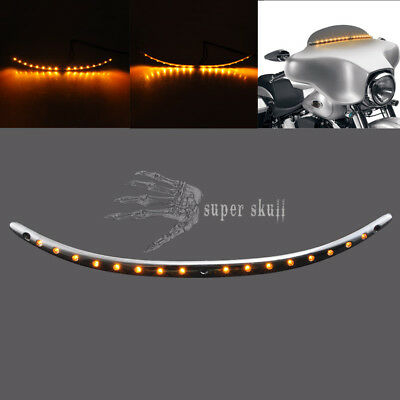 Motorcycle Windshield Trim With Turn signal LED Light For Harley Touring 14-2017