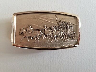 VTG Gold Tone Metal Money Clip Stagecoach & Horses Old West Men's Engraved Clip
