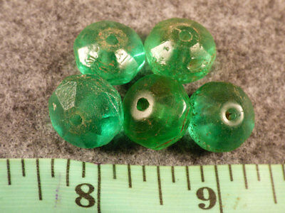 5 Old Russian Green Faceted Indian Trade Beads Good Patina & Color Fur Trade
