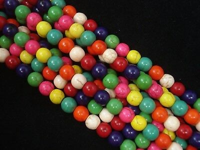 Gemstone Beads Mix Magnesite 8mm Round Beads 35cm Strand Jewelry FREE POSTAGE