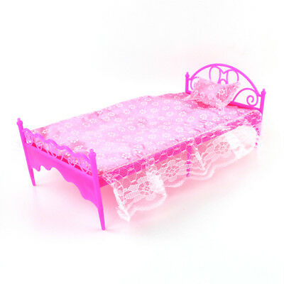 Plastic Miniatures Bedroom Furniture Single Bed for  Dolls Dollhouse JKHW/_CH