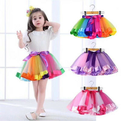 Mother&Daughter Princess Tutu Skirt Dresses Women Girls Lace Party Rainbow Skirt
