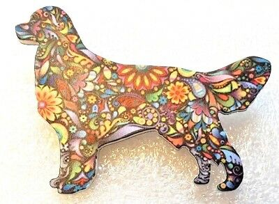 Golden Retriever Dog Large Multicolor Acrylic Pin Brooch Jewelry