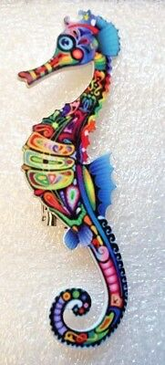 Seahorse Hippocampus Large Multicolor Acrylic Pin Brooch Jewelry