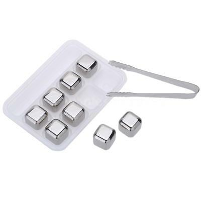 8Pcs Reusable Cooler Set Wine Drinks Cooling Chilling Cube with Case Tongs M5N2