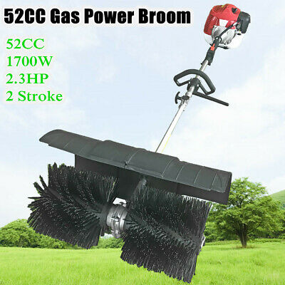 Hand Held 52Cc Gas Power Walk Behind Sweeper Broom Cleaning Driveway Turf Grass