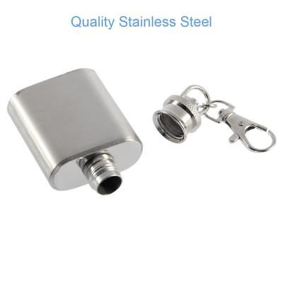 1pc Portable 1oz Mini Stainless Steel Hip Flask Alcohol Flagon with Keychain
