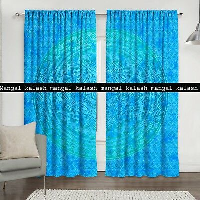 Indian cotton ombre mandala boho tapestry drapes hanging window door curtain set