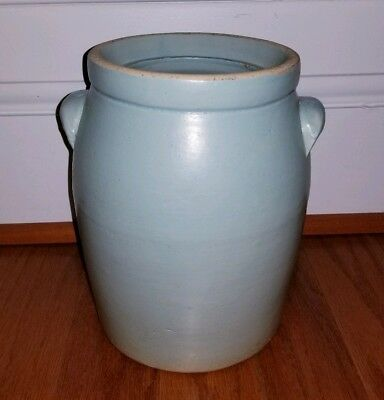 """Vintage Robin's Egg Blue Stoneware Crock 9"""" Tall Made in USA"""