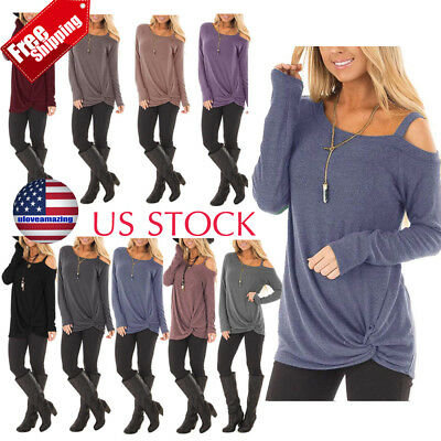 New Fashion Women Skew Collar Long Sleeve T Shirt Ladies Casual Blouse Top Shirt