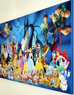 Disney Characters Wall Art Canvas  Picture   18 X 32 Inch Framed Print