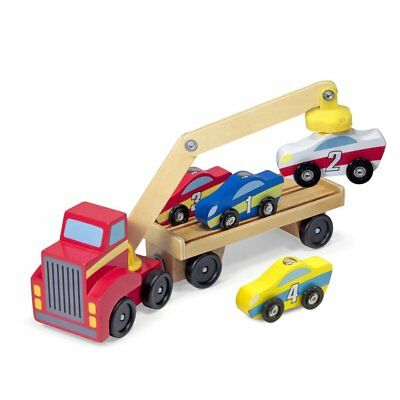 Melissa  Doug Magnetic Car Loader Wooden Toy Set With 4 Cars and 1 Semi-Trailer