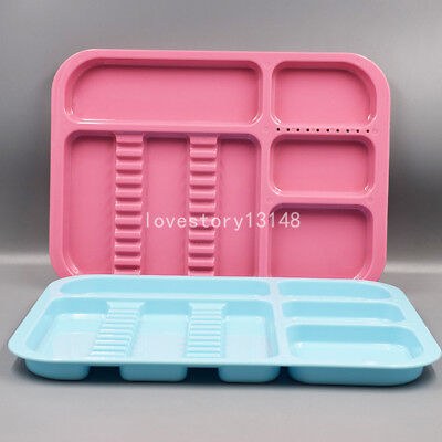 2x Dental Separate Divided Autoclavable 135°C Tray Plastic 5 Colors for choose