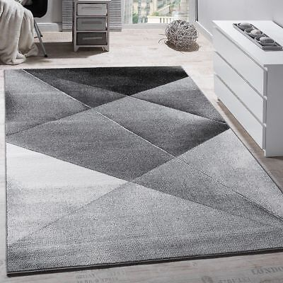 Modern Rug Grey Silver Black Geometric Pattern Mat Bedroom Carpet Small Large XL