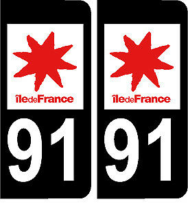 91 ILE DE FRANCE NOIR 2 stickers autocollants style plaque immatriculation AUTO