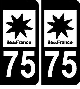 2 stickers style plaque immatriculation AUTO noir et blanc 75 Paris