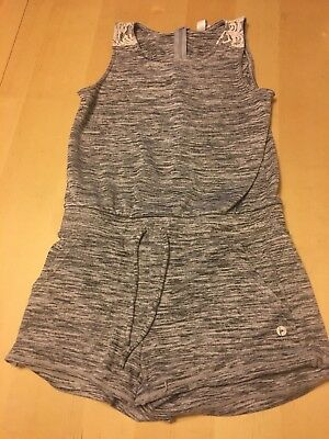 90 Degree By Reflex Heathered Grey Romper With Lacy Accent, Girls Sz 12