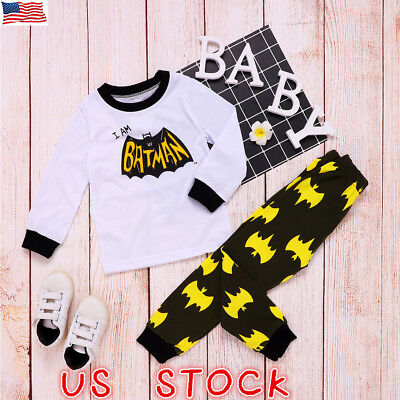 2PCS Toddler Baby Kids Girls Boys Tops T-shirt+Pants Trousers Casual Outfits Set