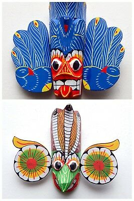 Hand Carved Wood Wall Art Tiki Decor Devil Mask Sculpture Collectible (Set of 2)