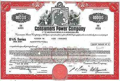 Consumers Power Company 1975,  8 1/8% First Mortgage Bond due 2001 (10.000 $)