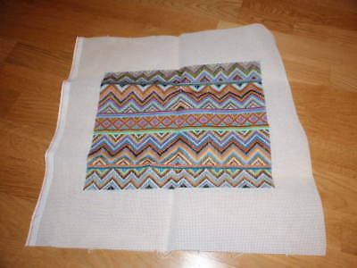 "COMPLETED COLOURFUL KELIM STYLE STRAIGHT STITCH NEEDLEPOINT TAPESTRY 14"" x 11"""