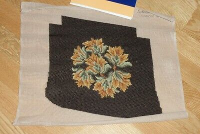 "COMPLETED SYLVANIE NEEDLEPOINT TAPESTRY FOR CHAIR SEAT - 13"" x 12"" approx"