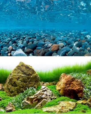 poster fond aquarium reversible 200 X 60 cm  galet/sea
