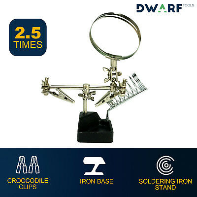 Soldering Iron Stand Helping hands Clamp Magnifying glass 2.5x Craft Assembly