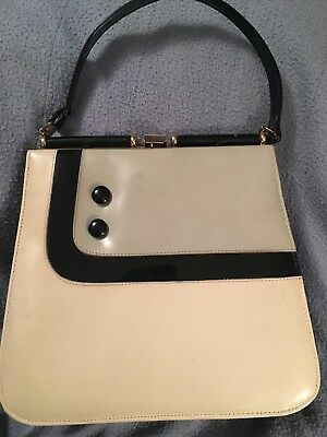 Vintage Black/Off White/Grey Patent Leather Handbag Purse Pocketbook ~