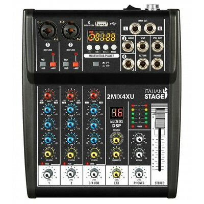 IS 2MIX4XU By Proel Mixer Audio Stereo con interfaccia USB e Bluetooth + effetti