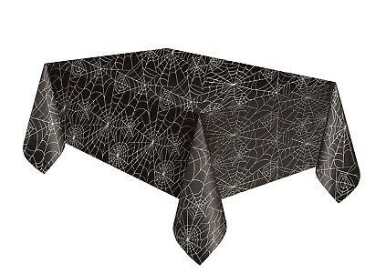 BLACK SPIDERWEB TABLECOVER Tablecloth Table Cloth Halloween Party Supplies