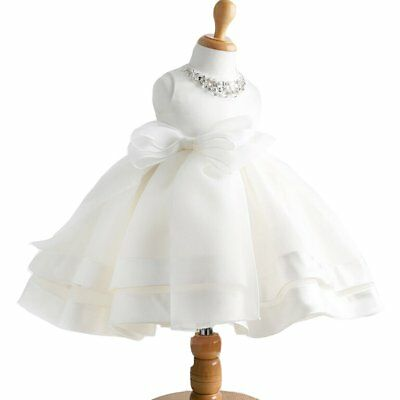 Baby Girl Dress Christening Baptism Gowns Sequined Formal Dress White 0-6 Months