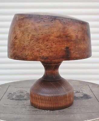 Attractive Vintage Wooden Hat Block/Form + Stand, Wonderful Patina Very Tactile.