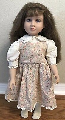 "1996 My Twinn 23"" Doll  Purple Eyes Long Brown Hair Bangs White Body"