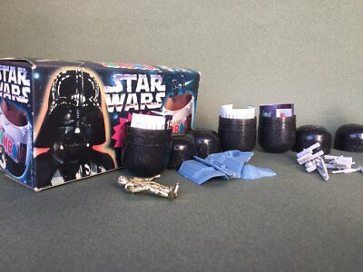1997 Stars Wars Tombola 4 Oeuf Complet + Boite C-3PO X-Wing Vader's Tie Fighter