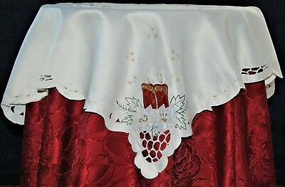 Cream Small Square Festive Christmas Table Cloth With Red Embroidered Candle