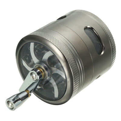 4 Layers Zinc Alloy Grinder Hand Crank Mill Crusher for Tobacco Herb Herbal